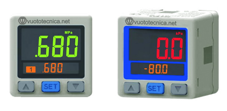 New digital vacuum switches with two-colour display